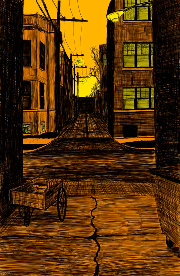 Alley Study 13 with Newspaper Cart