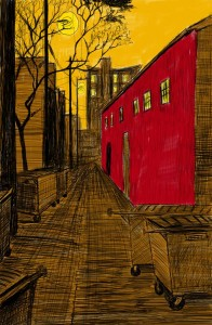 Alley Study 30 with Red Barn and Dumpsters