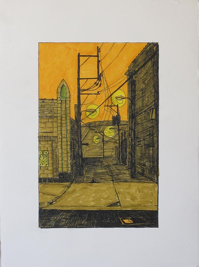 Alley with Garage Steeple
