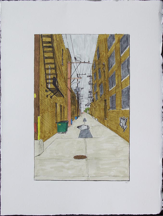 William Dolan -- Alley with Fire Escapes