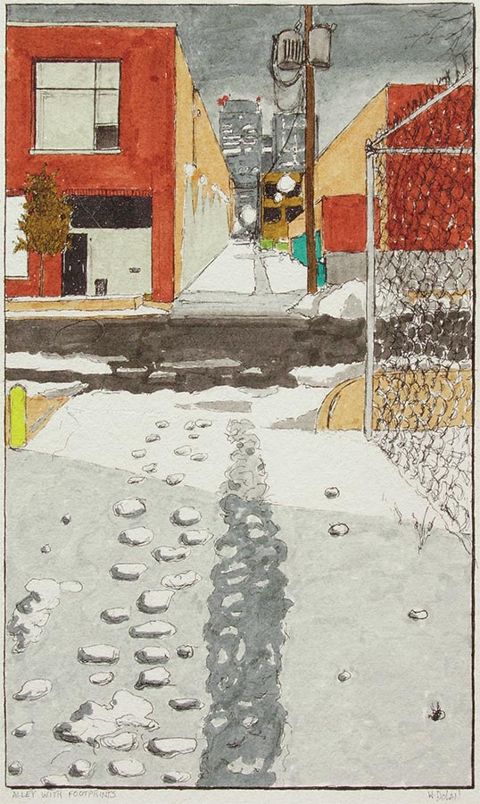 Alley with Footprints